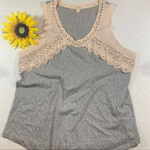 J. Crew Airy cotton lace-trim tank top Pale Pink